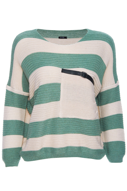 ROMWE | Belted Oblique Pocket Striped Green Jumper, The Latest Street Fashion