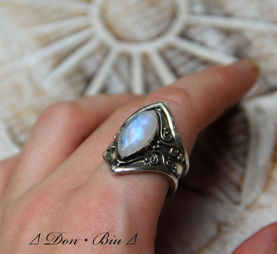 Cocktail Moonstone Ring Statement Personalized by DonBiuBali
