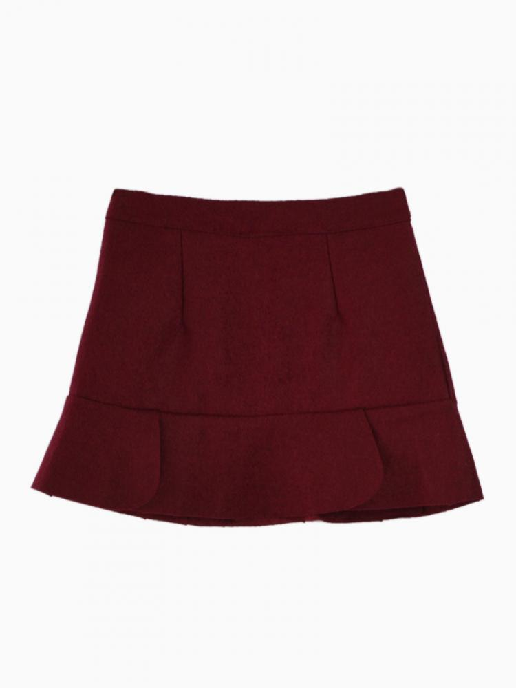 Red Pencil Skirt With Petal Trim   Choies