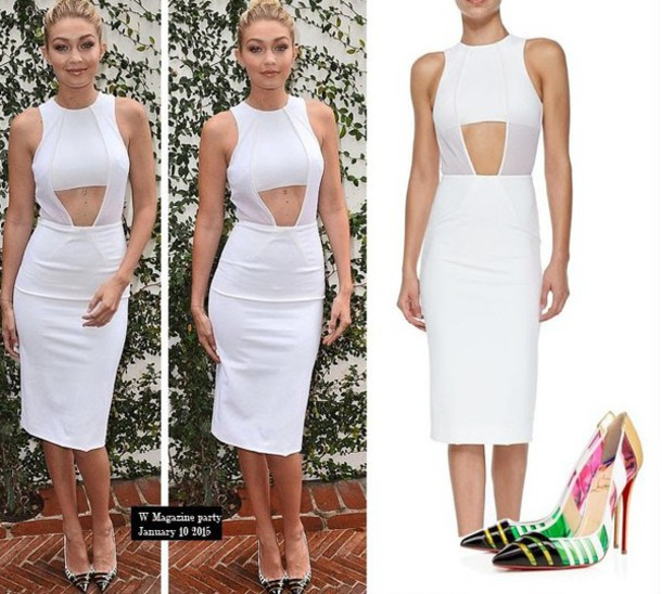 gigi hadid white dress louboutin pointed toe cut-out dress