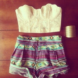 top bralette bustier crochet crop strapless cropped cream scalloped aztec colorful high waisted shorts high waist green purple outfit roll-up jewels shorts