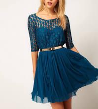 Blue Lace Chiffon Splicing Half Sleeve Pleated Dress
