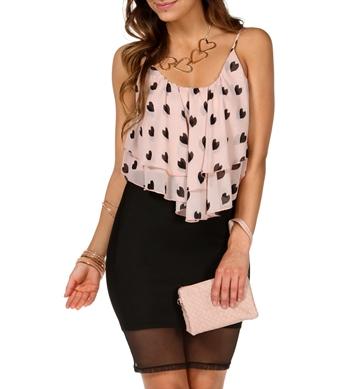 Blush Heart Shirt Tail Crop Top