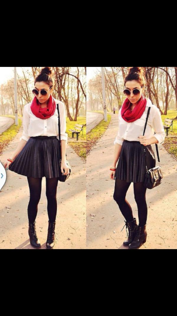 t-shirt white sheer shirt baggy see through skirt shoes pleated skirt shirt