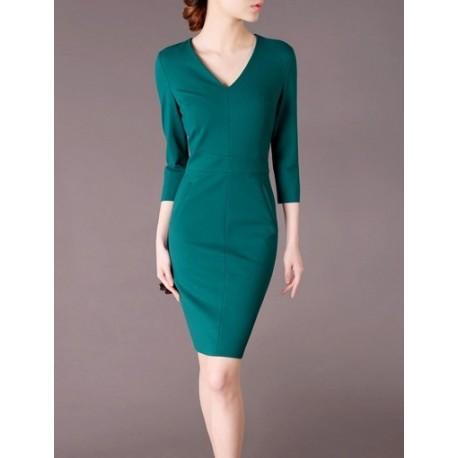 Green Elegant Noble Summer OL Slim Women Fashion Dress lml7021 - ott-123 - Global Online Shopping for Dresses