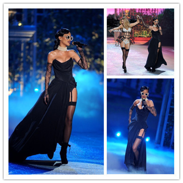 dress sexy black dress long dress rihanna celebrity style