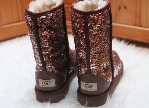 shoes ugg boots ugg boots sequins brown glitter snowboots snow brown sequin brown glitter ugg boots