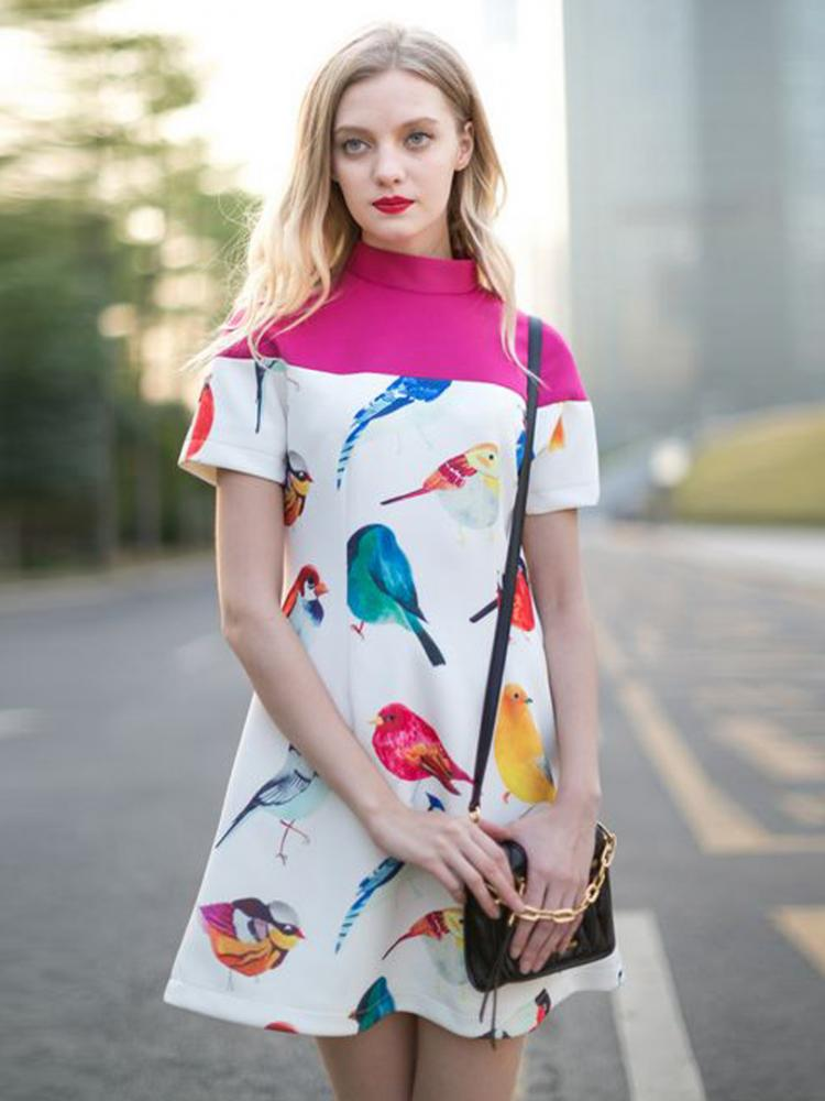 Great Contrast Color A-line Dress With Bird Pattern | Choies