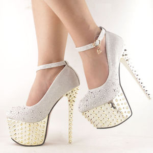 Queen Diamonds Studded Spike Platform Party Prom Ankle Strappy Court High Heels   eBay