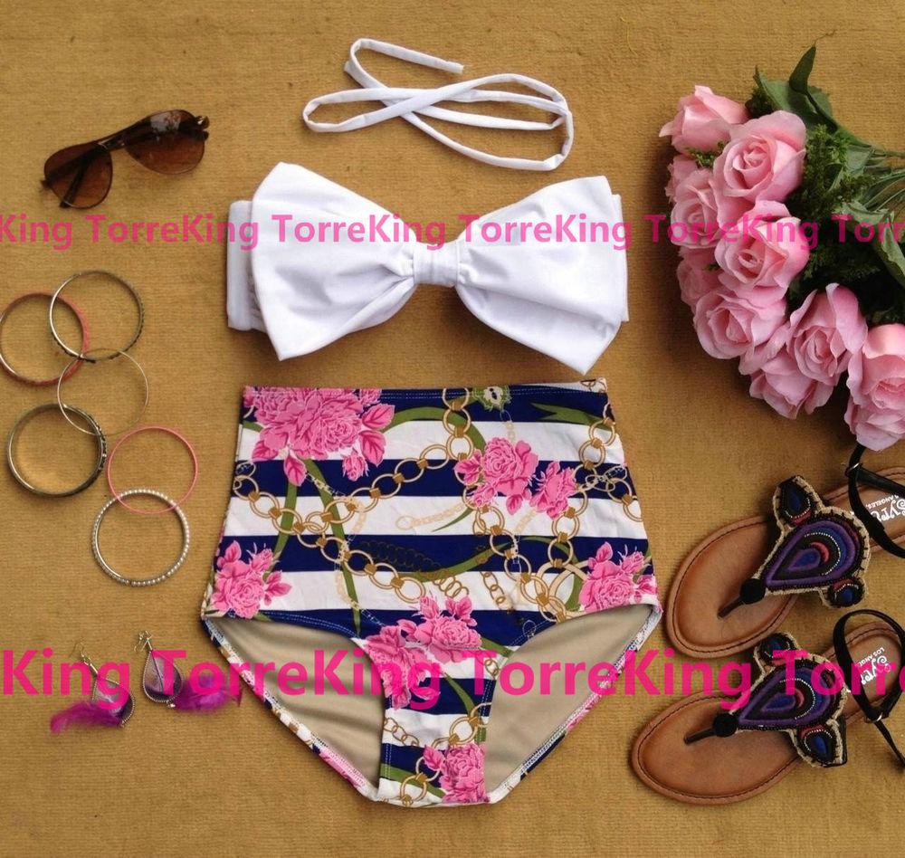 Vintage Retro Pin Up Bow Top Flower Bandeau High Waist Bikini Swimwear Size M   eBay