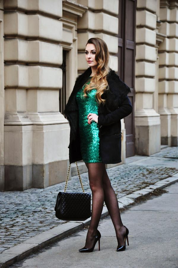 karina in fashionland dress coat shoes bag