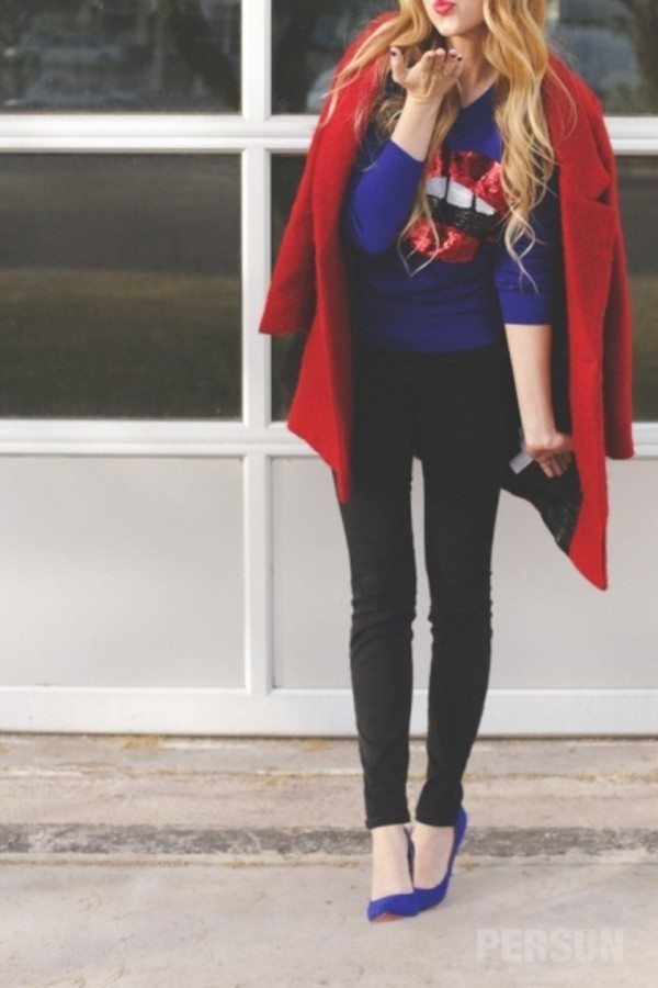 coat red coat blue heels high heels fashion girl back to school student outfit pretty clothes