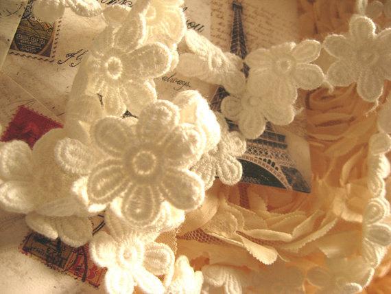 White Daisy Lace Trim Cotton Lace Trim Crochet Daisy by lacetime