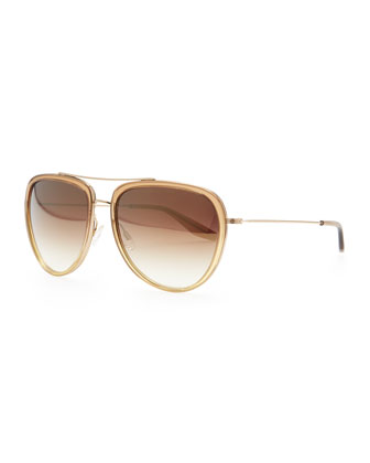 Barton Perreira Rio Aviator Sunglasses, Golden - Bergdorf Goodman