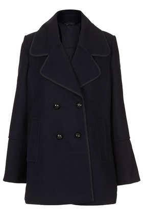 Wide Collar Pea Coat - Jackets & Coats  - Clothing  - Topshop