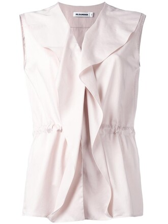 blouse women drawstring cotton purple pink top