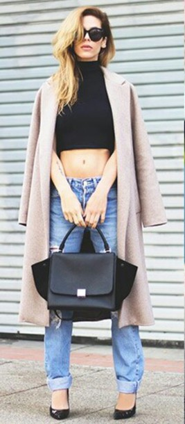 coat classy crop tops winter outfits