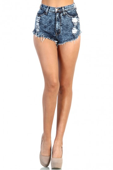 LoveMelrose.com From Harry & Molly | Back Pocket Destroyed Denim Jean Short - Dark Acid Wash