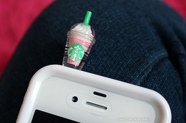 iphone starbucks coffee technology earphones dust plug jewels bag phone cover
