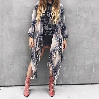 cardigan plaid outerwear multi fringes angl