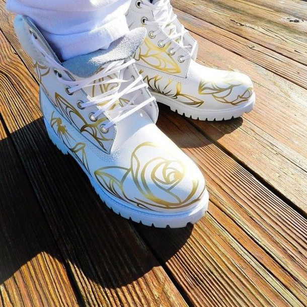 shoes white timbs gold rose design white gold timberlands