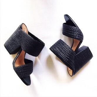 shoes schutz weekend medium heels chunky heels chunky heel black comfy slip on shoes revolve clothing
