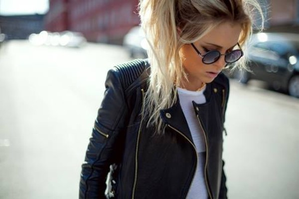 jacket clothes asos shoulder gold blone hair leather jacket blonde hair sunglasses leather leather fashion leather blonde ponytail college black blackgold black leather jacket coat blond girl