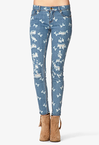 Bow Print Destroyed Skinny Jeans   FOREVER21 - 2042860588