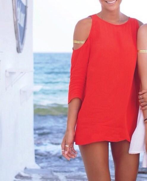 dress red dress cut-out dress style
