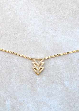 jewels necklace gold gold necklace triangle triangle necklace