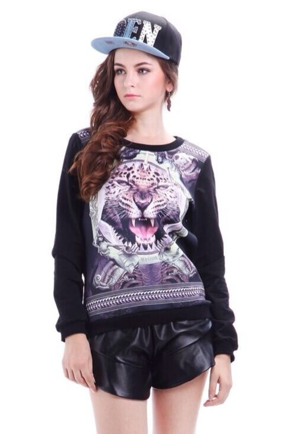 sweater tiger sweatshirt black
