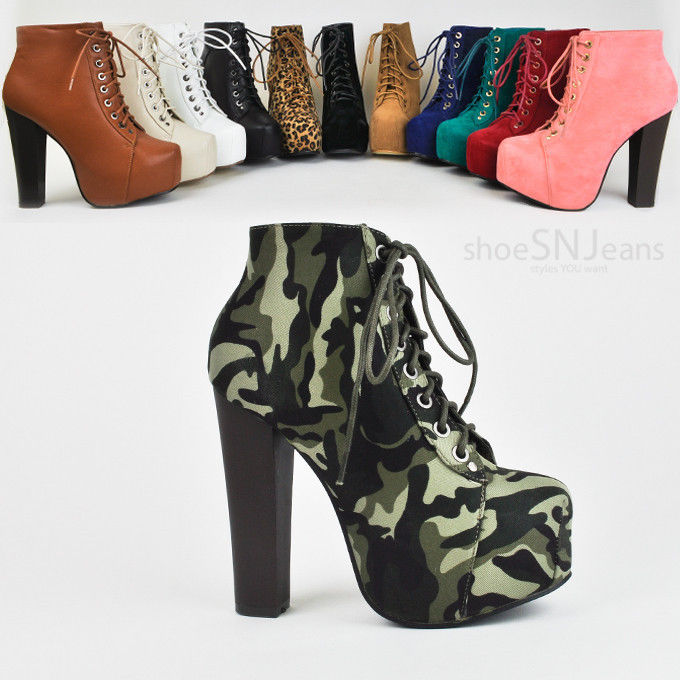 New Women's Lace Up Bootie High Heel Platform Party Dressy Shoes Boots Delicacy | eBay