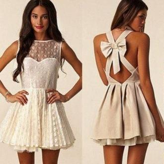 dress lace nude bow bow back dress sleeveless mesh white back cute white dress bows bow dress cute dress