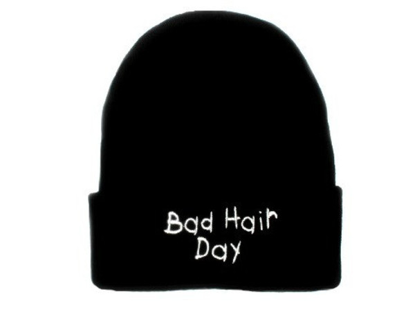 hat beanie bad hair day black white hair
