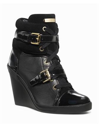 MICHAEL Michael Kors Skid Leather Wedge Bootie, Black - Michael Kors