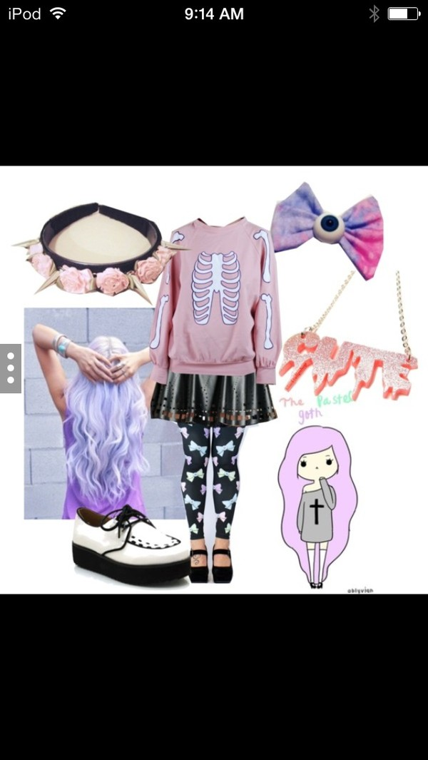 sweater pastel goth cute skirt and sweater bows pants skirt shoes hair accessory
