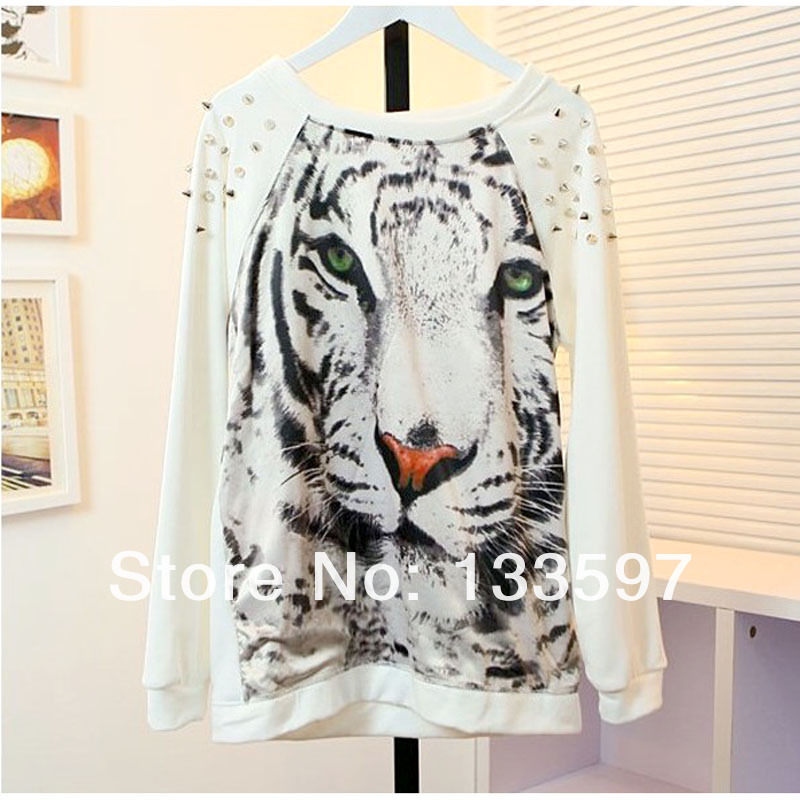 Casual Punk Shoulder Rivets Tiger Print  Womens angora Crochet Sweater Pullover Tops For Free Shipping-in Pullovers from Apparel & Accessories on Aliexpress.com