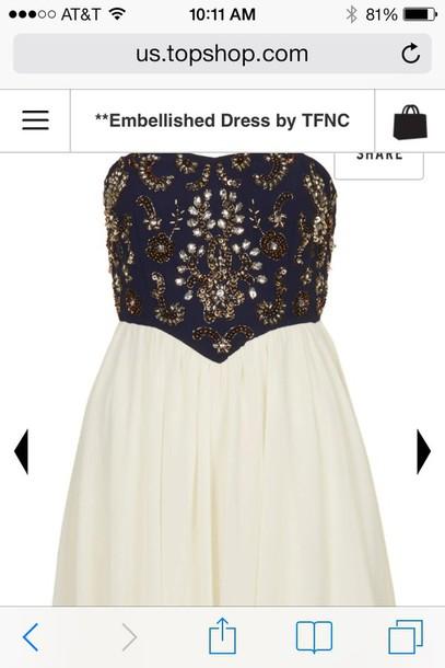 dress formal blue dress white dress formal dress tfnc embellished gold