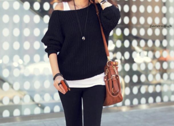 black knit crewneck brown bag sweater