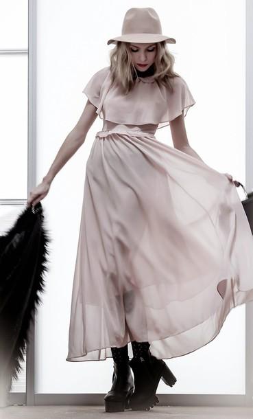 tini tani blogger blush collared dress long dress fedora chiffon dress hat dress coat shoes