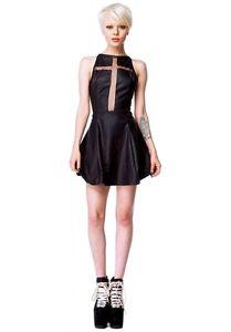 Nasty Gal Unif Crusade Dress Inspired Black PU Mesh Cross Dress Small | eBay