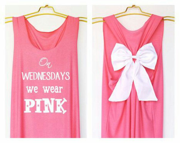 shirt tank top pink bow meangirls on wednesdays we wear pink