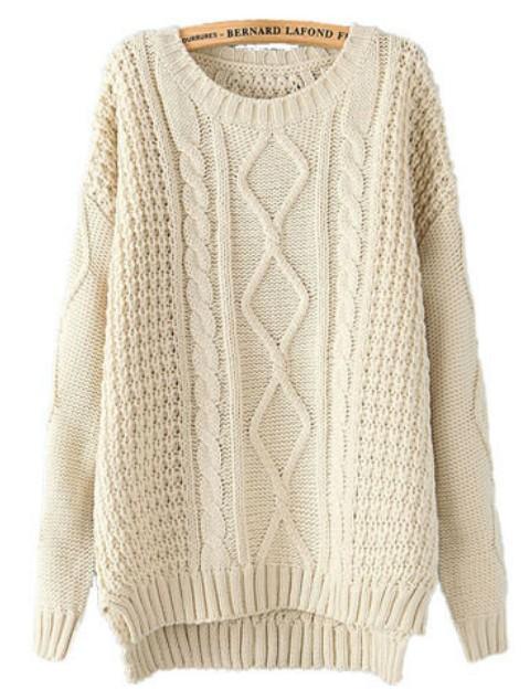 Beige Long Sleeve Cable Knit Dipped Hem Sweater - Sheinside.com
