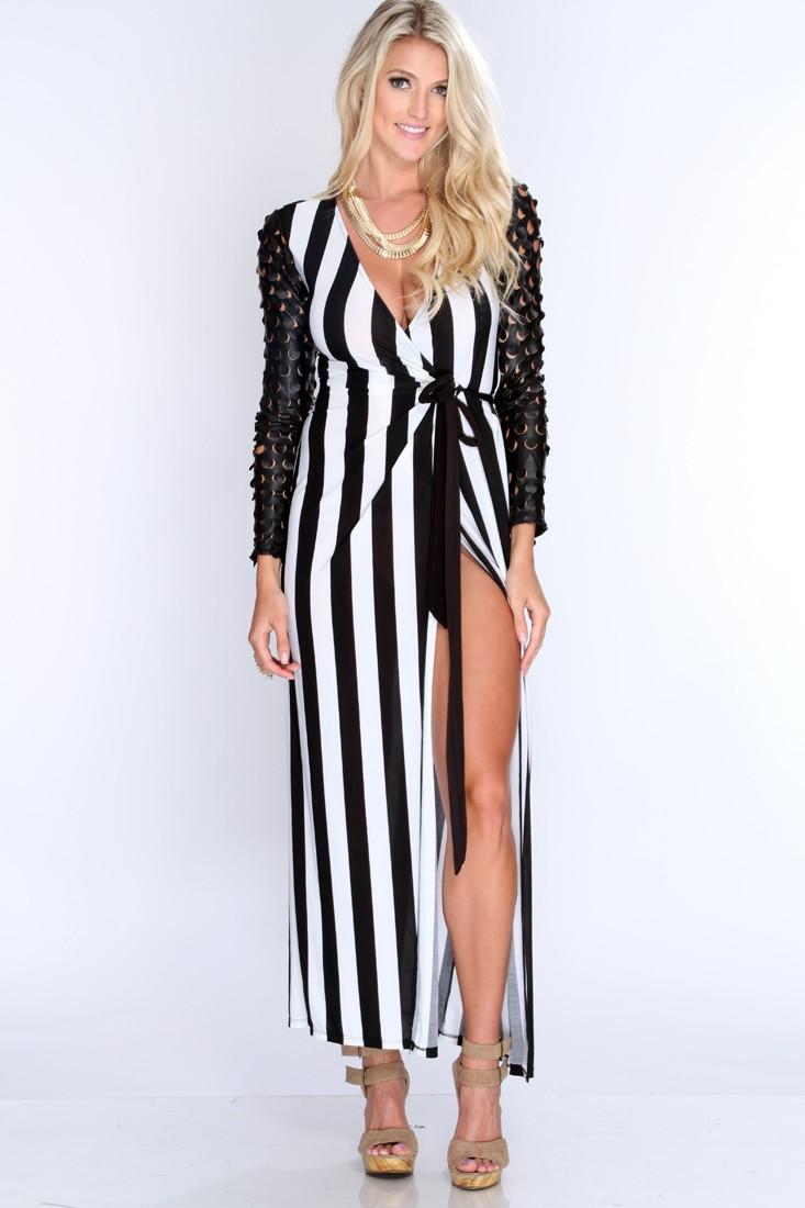Black White Vertical Stripes Maxi Dress