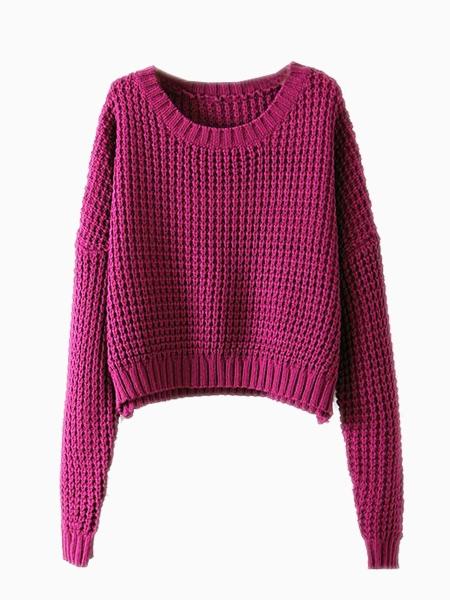 Vintage Crop Sweater In Pink   Choies
