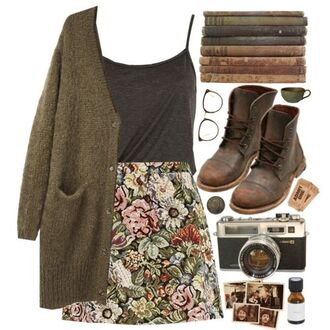 shoes eyeglasses worn-in brown leather boots sunglasses rugged polyvore cardigan hipster