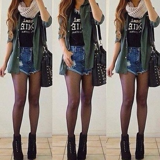 shorts jacket shirt coat blouse scarf bag shoes clothes jewels t-shirt sexy sac jeans homies t shirt green jacket echarpe tube bijoux chemise veste khaki green army green jacket cool dark green denim shorts acid wash high waisted hipster hipster.