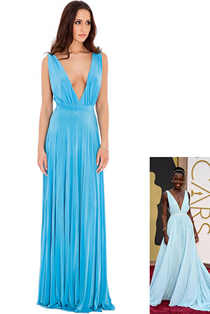 Pleated OscarDress in the style of Lupita Nyong'o