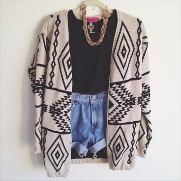 sweater cardigan aztec t-shirt necklace high waisted denim shorts shorts