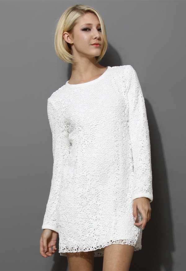 dress lacy shift white
